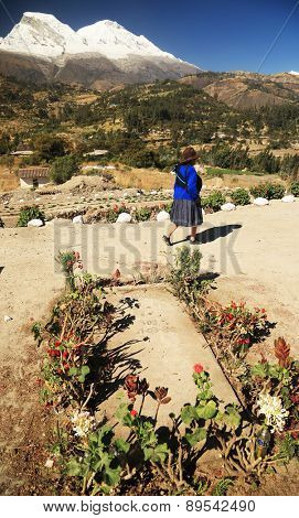 YUNGAY, PERU - AUGUST 23: Peruvian people participating at a funeral, Peru, South America, August 23 2012