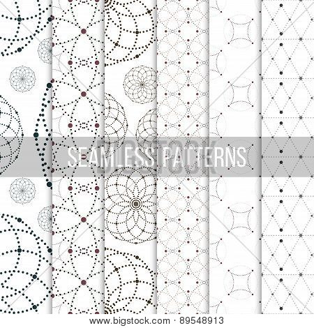Dotted seamless patterns with circles and nodes. Repeating modern stylish geometric backgrounds. Sim