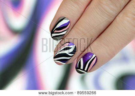 Striped manicure.