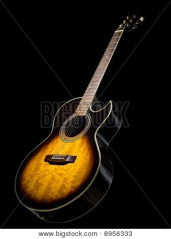 Acoustic  Guitar Over Black Background