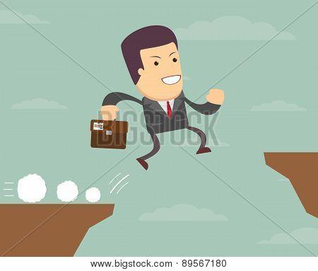 businessman jump through the gap