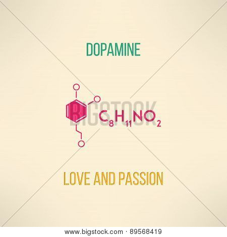 Love and passion chemistry concept. Dopamine molecule background made in modern flat design. Vector