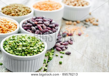 Bean. Green And Yellow Peas, Colored Beans, Chickpeas, Green And Red Lentils