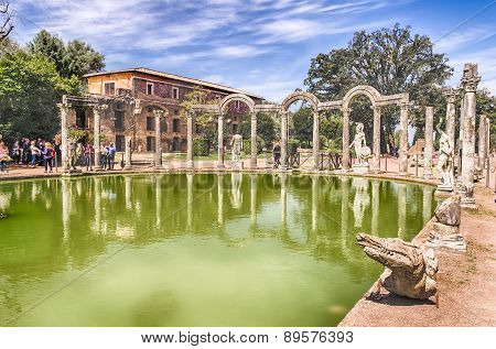 The Ancient Pool Called Canopus In Villa Adriana (hadrian's Villa), Tivoli, Italy