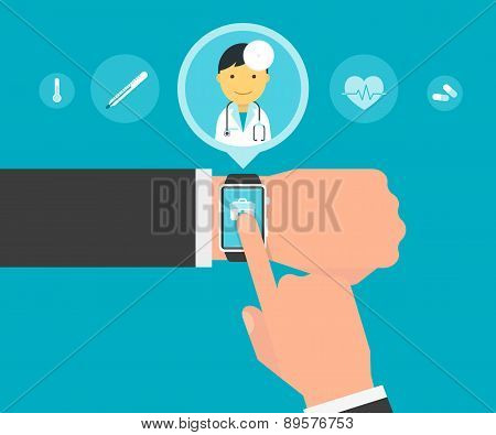 Smart wristwatch application for health