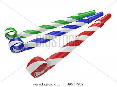 Striped red, blue, and green noisemaker party horns