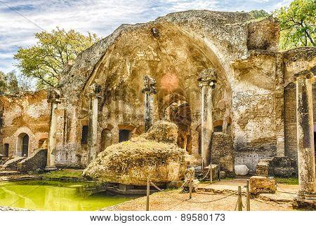 Ruins Of The Serapeum Building Inside Villa Adriana (hadrian's Villa), Tivoli, Italy