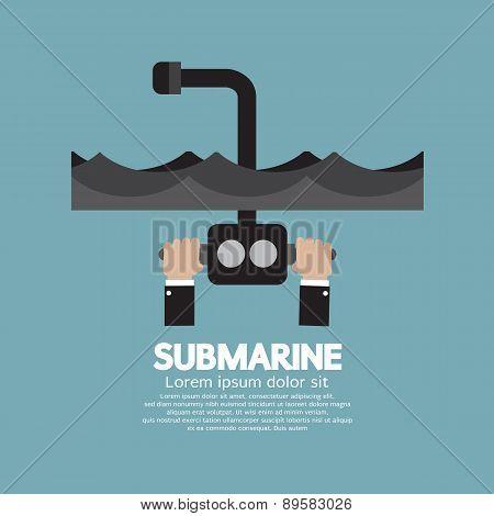 Periscope Of Submarine Under The Ocean.
