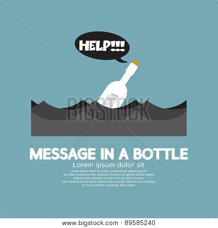 Message In A Bottle Floating In The Sea.