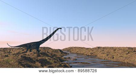 mamenchisaurus walking on watered terrain poster