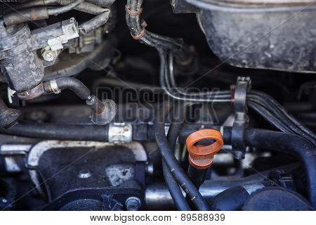 Automobile Maintenance. Engine Dipstick To Check The Oil Level