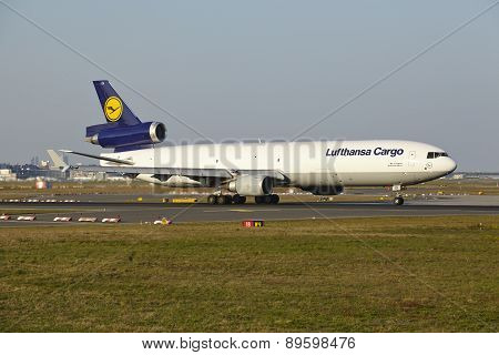 Frankfurt Airport - Md-11 Of Lufthansa Cargo Takes Off