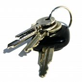 details of key ring with various door and car keys against a white background poster