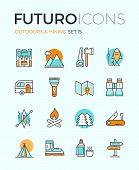 Line icons with flat design elements of camping equipment hiking activity outdoors adventure mountain climbing recreation tourism. Modern infographic vector logo pictogram collection concept. poster