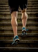 young athletic legs of runner sport man with sharp scarf muscles climbing up city stairs jogging and running in urban training workout our competition in fitness and healthy lifestyle concept poster