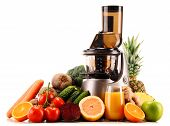 Slow juicer with organic fruits and vegetables isolated on white. Detox diet poster