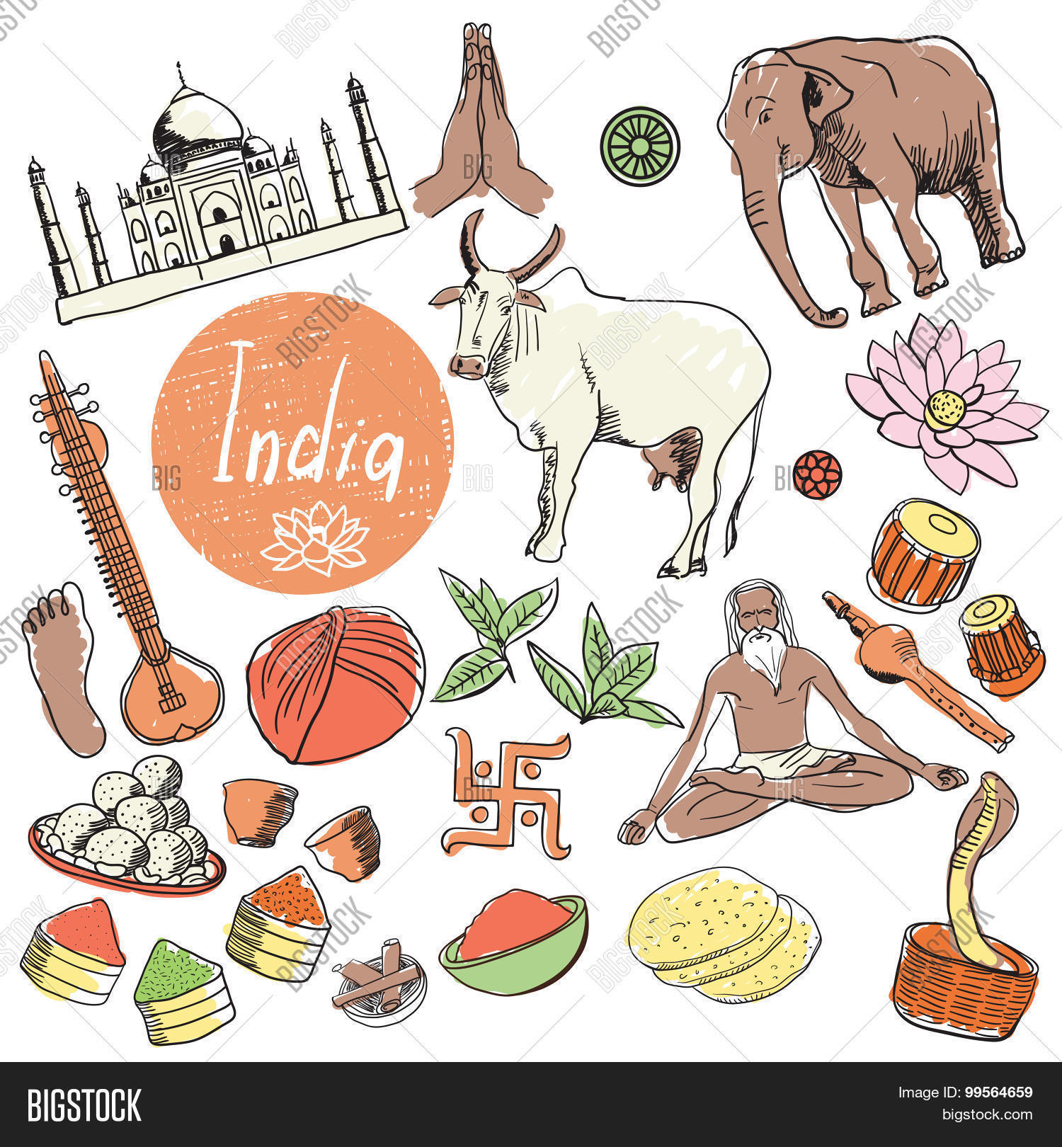 India Doodle India Vector Photo Free Trial Bigstock