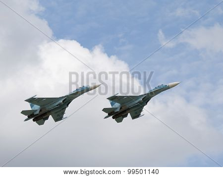 Military Su-30 Flying In The Sky