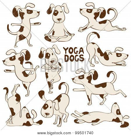 Funny Dog Icons Doing Yoga Position.