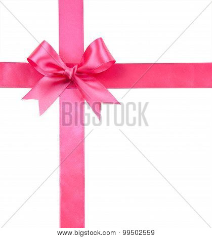 Pink Bow Isolated On White Isolated