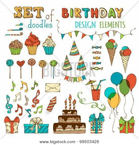 Set Of Doodles Birthday Design Elements.
