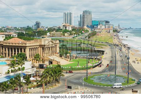 View to the seaside road in downtown Colombo, Sri Lanka.