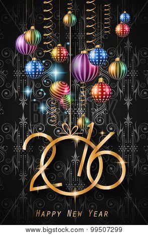 2016 Happy New Year Background for your Christmas dinner invitations, festive posters, restaurant menu cover, book cover,promotional depliant, Elegant greetings cards and so on. poster