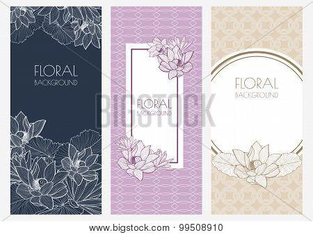 Set Of Vector Floral Banner Backgrounds And Seamless Pattern. Vintage Linear Illustration Of Pastel