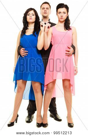 Man detective secret agent criminal and two sexy spies women with gun. Isolated on white background poster