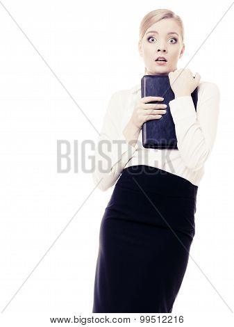 Afraid Businesswoman Shy Woman. Stress In Work.