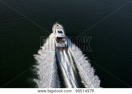 A Fast Speedboat Sailing In A Sea
