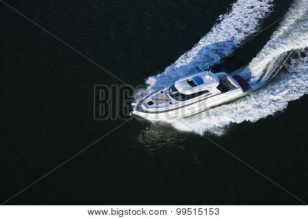 A Speed Boat In The Sea