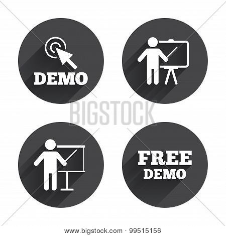 Demo with cursor icon. Presentation billboard sign. Man standing with pointer symbol. Circles buttons with long flat shadow. Vector poster