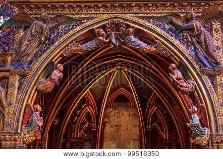 Angels Wood Carvings Arch Cathedral Sainte Chapelle Paris France