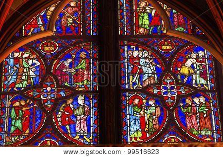 Jesus Crucifixion Story Stained Glass Sainte Chapelle Paris France