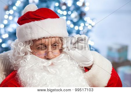 Cheerful Father Christmas is ready to congratulate people