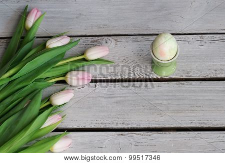 Easter Background With Eggcup Green And Pink