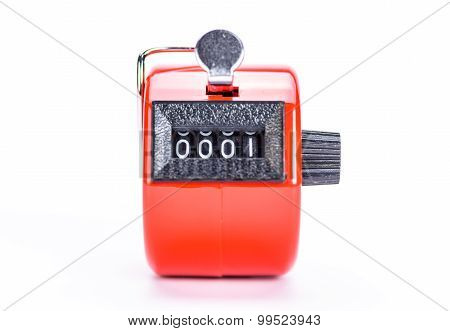 Hand tally counter isolated on white background poster