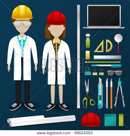 Lab Engineering Scientist Or Technician Operator Uniform Clothing, Stationary And Accessories Tool I