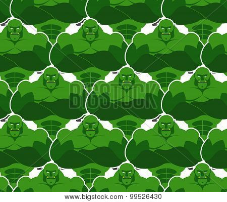 Green Monsters Seamless Pattern. Evil And Powerful Goblins. Vektor Background Of Monsters