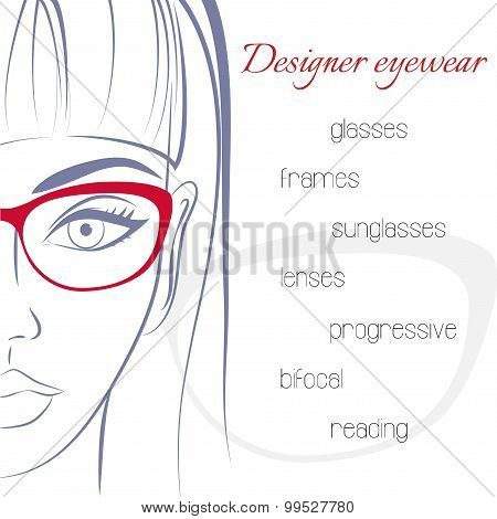 Woman in glasses. Optician consept. Stylish glasses and lenses a