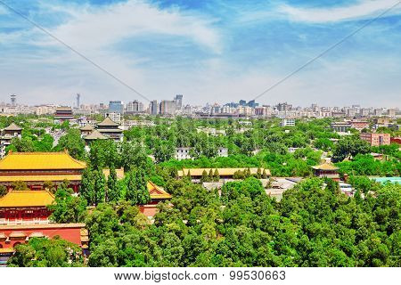 Jingshan Park,panorama Above On Beijing City.
