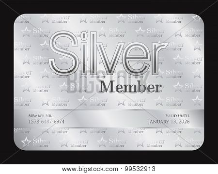 Silver Member Club Card With Small Stars Pattern