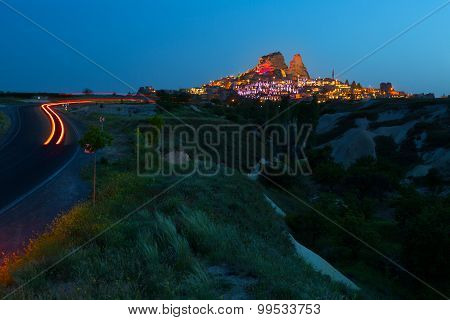 Highway Conducting To The Ancient City Of Uchisar In Cappadocia, Turkey