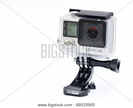 Isolated Gopro hero4 action camera on white