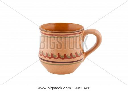 Clay Mug Isolated White Background Clipping Path.