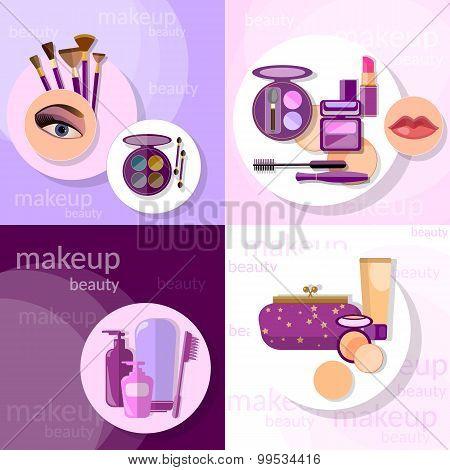 Cosmetics Set Makeup Beautiful Female Eye Eyeshadow Eyelashes Lip Liner Lipstick vector icons