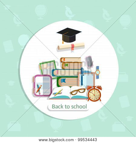 Education background back to school college institute learning university math textbooks pencils alarm clock study student training vector concept poster