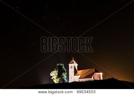 Nightscape With Church And Ursa Major Stars