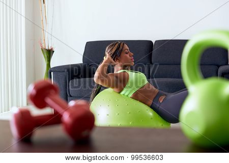 Home Fitness Black Woman Training Abs On Swiss Ball